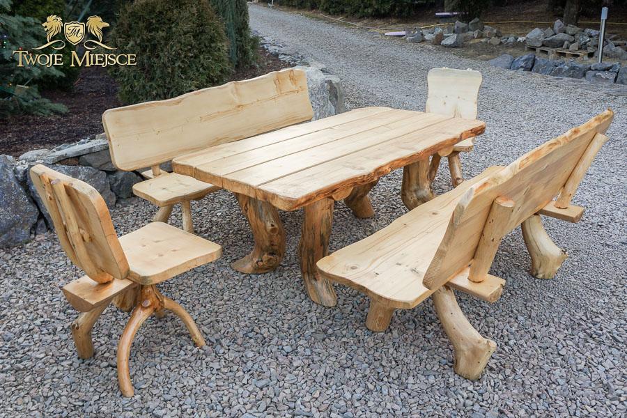Meble ogrodowe z litego drewna, góralskie, drewniane, biesiadne